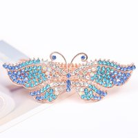 Wholesale Buckle Barrette - high quality women hair clips alloy butterfly leaf barrettes fashion hair jewelry spring buckle ladies hairpins