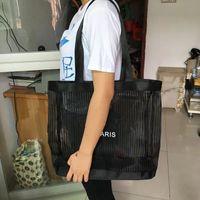 Wholesale Custom Eco Friendly Shopping Bags - 2017 Custom Fashion Storage Shoulder Bag with magnetised cover Black Gauze Shopping Bag Eco-Friendly Large Beach Bag Woman Casual Handbag