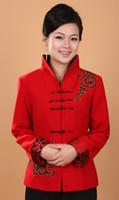 fleurs de laine achat en gros de-Shanghai Story Automne Blend Woolen Jacket broderie veste manteau femmes chinois style veste chinoise Plus la taille 2 couleur