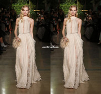 Wholesale Chiffon Couture Red Evening Gown - Elie Saab Spring Couture Formal Evening Dresses A Line Custom made Sexy High Neck Chiffon and Lace Party Prom Gowns Floor Length Summer