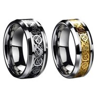 Wholesale Lord Ring Free Shipping - Vintage Gold Free Shipping Dragon 316L stainless steel Ring Mens Jewelry for Men lord Wedding Band male ring for lovers 3 COLORS