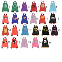 Wholesale Spiderman Birthday - Gold Hands New kids capes 70cm*70cm double Superhero Batman cape Spiderman Flash Robin Green Lantern for kid Birthday Party Cosplay