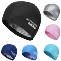 Wholesale Waterproof Fabric Swim Cap - Wholesale- New Elastic Waterproof PU Fabric Protect Ears Long Hair Sports Swim Pool Hat Swimming Cap Free size for Men & Women Adults