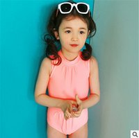 Wholesale Sexy Kids Bathing Suit - Kids swimwear fashion children tight siamese princess swimsuits girls sexy backless one piece swimsuits girl spa beach bathing suit T4318