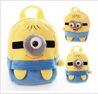 Wholesale Despicable Plush Bags - plush pp cotton kids backpack Despicable Me backpack baby shool bag mini cartoon children book bag kids gift bags