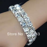 Wholesale Stretchy Silver - New Arrival 3pcs Full Clear 8m Cubic Zirconia Stretchy Women Charms Silver P Bracelets Wholesale Fashion Jewelry A-910
