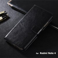 Wholesale Xiaomi Flip Cover - Redmi Note 4 Case High Quality Crazy Horse Wallet Flip Leather Case For Xiaomi Redmi Note 4 Note4 Pouch Cover Coque Skin Cases