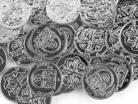 as pic spanish treasure - Cool fancy pc plastic Spanish pirate treasure silver coins props toys for Halloween party cosplay kids party favors prizes