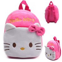 Wholesale Cartoon Character Bags For Kids - Wholesale-Cute Pink kitty Plush Cartoon Toy Backpack kindergarten Boy Character Lovely Baby School Bag Gift For Kids and Children Gril