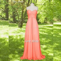 Wholesale Cheap Pageant Dresses Chiffon Style - Cheap Coral Bridesmaid Dresses Fashion Sweetheart Empire Chiffon Floor Length Beach Style Long Prom Party Pageant Dress Factory Real Photos