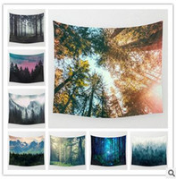 Wholesale Weaved Mat - hot selling 9 designs 130*150cm scenery printed square tapestry Yoga Mat Towel Beach Towel shawl landscape wall Tapestry bedroom decorations