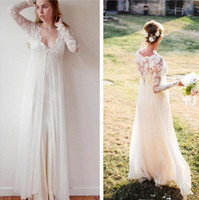 Wholesale Chiffon Dress Transparent Sleeves - New Bohemian Wedding Gowns 2017 Sheath Chiffon Boho Wedding Dresses V Neck Transparent Lace Long Sleeve Beach Empire Maternity Formal Dress