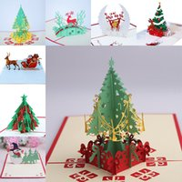 Wholesale christmas party invitations resale online - 9 Design Christmas Card D Pop Up Greeting Card Christmas Tree Bell Party Invitations Paper Card Personalized Keepsakes Postcards WX9