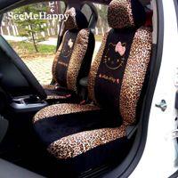 Wholesale Leopard Car Accessories Set - 10pcs Universal Car seat Covers Leopard Cartoon Universal Hello Kitty Car Seat Covers Universal Car interior Accessories