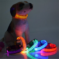 Wholesale Glowing Cat Collars - Pet Dog LED Collar Glow Cat Collars Flashing Nylon Neck Light Up Training Collar for dogs 8 Colors Pet Supplies Dog Collars