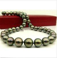 collar de perlas de pavo real tahitiano al por mayor-impresionanteAAA 10-11mm tahitian peacock verde collar de perlas 18inch14K