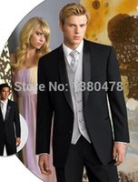Wholesale Wedding Suits Pants Price - Wholesale- 2016 Men Suits Good price Black Groom Tuxedos Best Man Suits Groomsmen Men Wedding Suits (Jacket+Pants+Vest+Tie)Free Shipping