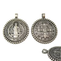Wholesale Blessing Design - 50pcs of New Design 1.2 Inch Blessed Saint Benedict San Benito Jubilee Medal Pendant