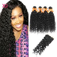 Wholesale Cheap Virgin Peruvian Wavy Hair - Peruvian Water Wave Human Hair 4 Bundles With Closure Cheap Peruvian Virgin Human Hair Bundles and Closure Wavy Human Hair Extensions