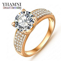 Wholesale Gold 24k Wedding Set - Big Promotion!!! Fashion 24K Gold Filled Wedding Rings For Women Engagement Jewelry Vintage Ring Zirconia Accessories cri0010