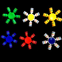 Wholesale Ring Toys - Plastic Hexagonal Fidget Spinner with Colorful O-ring Plastic Hexa-spinner Fidget Spinner EDC Hexagonal Spinners Decompression Novelty Toy