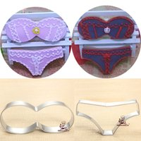 Wholesale Sexy Underclothes - 2pcs Sexy Bra Briefs underwear underclothes metal cookie cutter beach patisserie gateau biscuit mold fondant cake tools bakeware