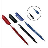 хорошие маркеры оптовых-6шт двуглавые маркеры хорошие водонепроницаемые чернила тонкий перо сырой перо черный новый портативный тонкий цвет маркер ручка