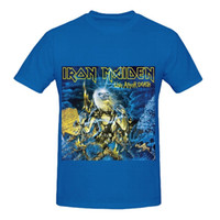 Wholesale Iron Maiden Free - Cotton T-Shirt Fashion Free Shipping Iron Maiden Live After Death 80s Mens Crew Neck Digital Printed T Shirt