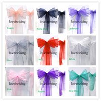Wholesale Multicolor Chair Sashes - 20 colors Upick--50pcs  lot Multicolor Wedding Chair Organza Chair Sashes Bow for Banquet Chair Decor Christmas Party Supplies