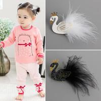 Wholesale Swan Kid - 12Pcs Lot Cute Cartoon Black And White Swan Baby Hairpins Kids Hair Clips Princess Barrettes Girls Hair Accessories Beautiful HuiLin B27