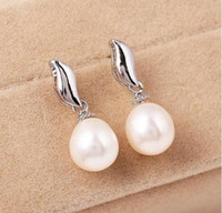 A Pairs de 8-9mm White Pink Purple 3 Colour Natural Pearl Earrings 33627
