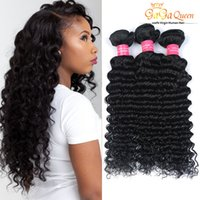 Wholesale Indian Remy Hair Free Shipping - Indian Remy Human Hair Weaves Unprocessed Indian Deep Wave Virgin Hair 4Bundles Deep Curly Wave 8A Indian Virgin Hair Products Free Shipping