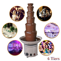Wholesale Electric Chocolate Fondue Fountain - Fashion Commercial 6 Tiers Electric Chocolate Fountain Fondue Maker Adjustable Luxury Stainless Steel 36x82cm for Wedding Party Hotel