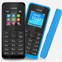 Wholesale old cell - Refurbished Original Nokia 105 GSM Cell Phone 1.4Inch Screen Single SIM No Camera Not Support TF Card Bar Old Keyboard
