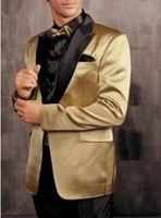 Wholesale Satin Jackets Men - One Button Gold Jacket Black Pants Groom Tuxedos Peak Lapel Groomsman Men Prom Blazer Bridegroom Suits (Jacket+Pants+Tie) G1211