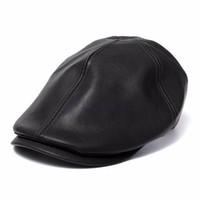 sombrero de vendedor de periódicos de tapa plana al por mayor-Al por mayor-para hombre Ivy Cap Faux Leather Bunnet Newsboy Beret Cabbie Gatsby Flat Golf Hat