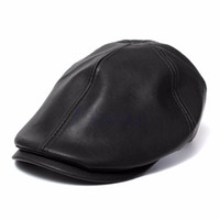 erkekler ilmi şapkalar şapkalar toptan satış-Toptan-Erkek Ivy Cap Suni Deri Bunnet Newsboy Bere Cabbie Gatsby Düz Golf Şapka