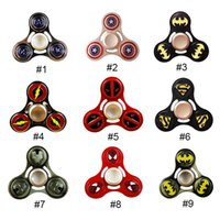 Wholesale Union Cartoons - Cartoon Fidget Spinner Captain America Avenger Union Iron Man Hand Spinner Alloy Puzzle Toys EDC Autism ADHD Tri-Fidget Gyro Toy Beyblades