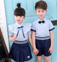 Wholesale Wholesale School Shirts - 2017 New Kids School Uniform Dress Set 2PCS Set Bow Tie Girl Striped T-shirt + Short Skirt Boys Striped Shirts+ Short Pants B4604