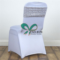 Wholesale Fits Banquet - Sequin Chair Band \ Chair Sash Fit For Wedding Spandex Chair Cover