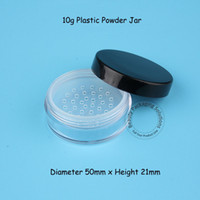 Wholesale Plastic Sifter Jars - 5pcs Lot Promotion Plastic 10g Powder Jar with Sifter 1 3OZ Cream Jar with Black Lid Women Cosmetic Container Portable Travel
