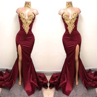 Wholesale Hot Sweetheart Mermaid - Burgundy 2018 Long Mermaid Evening Dresses Gold Applique High Side Split Backless Pleats Formal Prom Party Gowns Cheap Dress Cheap Hot Sale