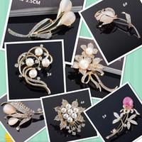 Wholesale Hot China Female Model - 7 model Hot Selling Fashionable Opal Stone Flower Brooch Pin Rhinestone pearl Garment Accessories Female gift