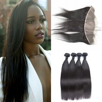 Wholesale 22inch human hair weft for sale - 4 Bundles With Frontal Virgin Human Hair Peruvian Straight Hair Weaves With Lace Frontal Closure inch G EASY