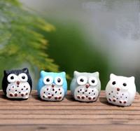 Wholesale Craft Owls - Fairy Garden Miniature cute Owl 4 colors optional artificial mini owls decors resin crafts bonsai decors Easter Bunny