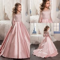 Wholesale beaded long white flower girl for sale - Group buy Blush Pink Sparkly Beaded Little Princess Girls Pageant Dresses Modest Long Sleeve Pageant Dresses for Teens with Bow