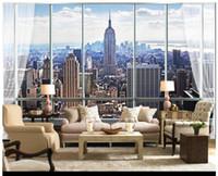 nuevos fondos de pantalla de fondo al por mayor-Papel pintado de la foto 3D personalizado papel tapiz murales Papel pintado 3D estilo europeo de la ventana tridimensional Edificio de Nueva York TV telón de fondo papel pintado