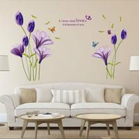 tulipán mural al por mayor-7244 Cálido Romántico Flor de Tulipán Púrpura Pegatinas de Pared DIY Sala de estar TV / Fondo del sofá Decoración para el hogar Mural Decal