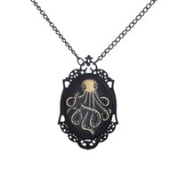 Wholesale Asian Black Painting - Tennis, Graduated Selling DIY jewelry black paint frame cute octopus lady pendant long necklace