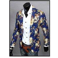 Wholesale Business Men Suit Xxl - Wholesale- Mens Slim Fit Blazers Floral Jacket Coat 2016 Leisure Casual Business Suit Flower Print Jacket Blazer Dress Clothes M-XXL